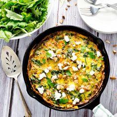 Perfect for brunch ... Curried Sweet Potato Frittata with Goat Cheese and Almonds