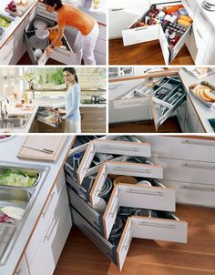 The kitchen corner space solutions corner-space-saving-drawers – Roundedoff Corner Drawers, Kitchen Drawers, Kitchen Pantry, New Kitchen, Kitchen Dining, Kitchen Decor, Kitchen Cabinets, Corner Cabinets, Cabinet Drawers