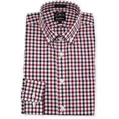 Neiman Marcus Trim-Fit Regular-Finish Plaid Dress Shirt ($44) ❤ liked on Polyvore featuring men's fashion, men's clothing, men's shirts, men's dress shirts and red