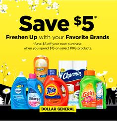Get $5 off your next purchase when you spend $15 on P&G products. Head to Dollar General for this great deal today.