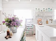 Dreamy Whites: Carrara Marble Subway Tile Built in Makeover and Dying Easter Eggs Naturally