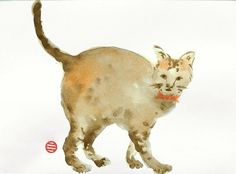 A Cat with a Ribbon - Original Watercolor by AuspiciousInk.com