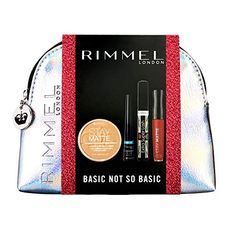 Rimmel Basic Not So Basic Silver Make Up Bag Gift Set (includes Stay Matte Powder, Exaggerate Waterproof Liquid Eyeliner, Extra Super Lash Mascara and Stay Matte Liquid Lipstick, all full sizes)