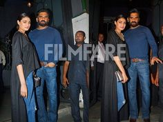 Athiya Shetty went along with daddy dearest Suneil Shetty to attend the party thrown by Sanjay Leela Bhansali. The father-daughter duo posed happily for the photographers and made for a perfect frame together. The young actress raised the style stakes in a high-low black top paired with distressed denims black ankle-strap pumps and a statement collar necklace. by #Filmfare. Shared by #BollywoodScope