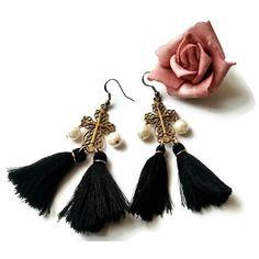 Gothic cross earrings, Edwardian tassel jewelry, Tudors cross jewelry,... ($25) ❤ liked on Polyvore featuring jewelry, earrings, cross earrings, antique earrings, gothic cross jewelry, goth jewelry and gothic cross earrings