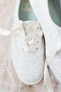 Kate Spade New York, silver sparkles, tennis shoes, wedding sneakers // Madeline Jane Photography