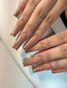 Classy Acrylic Nails, Acrylic Nails Coffin Pink, Long Square Acrylic Nails, Gold Tip Nails, Long Square Nails, Colored Acrylic Nails, Glitter Nails, Drip Nails, Glow Nails