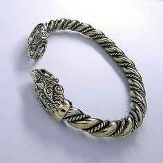 Bronze Viking torc wolf bracelet. Viking bear bracelet. Berserker bracelet. VIking wolves