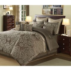 @Overstock - Carlo 10-piece Comforter Set - Add luxury to your bedroom with this Carlo 10-piece comforter set. Featuring taupe and brown colors, this set has a woven texture detail. It includes four accent pillows, two shams, a bedskirt, two euro shams, and a comforter for an instant update.  http://www.overstock.com/Bedding-Bath/Carlo-10-piece-Comforter-Set/7411678/product.html?CID=214117 $104.99