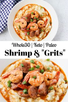 These Shrimp & Grits are a low carb, friendly, and healthier version of the classic Southern comfort food! Smoked sausage and shrimp in a spicy creole gravy over buttery cauliflower grits. A meal the entire family will love! Whole 30 Diet, Paleo Whole 30, Whole 30 Recipes, Spicy Recipes, Seafood Recipes, Healthy Recipes, Healthy Breakfasts, Paleo Meals, Paleo Food
