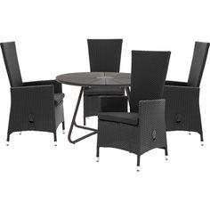 Derby havebord med bordplade i sort polywood og midte i granitlook. Havana positionsstol i sort polyrattan ekskl. hynde. Stolen har trinløs vippefunktion. Sætpris bord + 4 stole