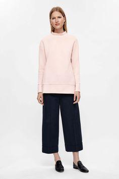 COS image 6 of Oversized high-neck sweatshirt in Pink