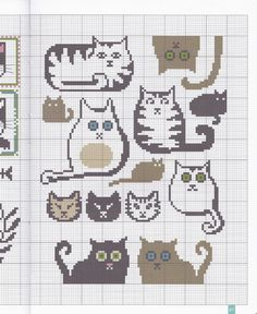 History of cats Cat Cross Stitches, Funny Cross Stitch Patterns, Cross Stitching, Cross Stitch Embroidery, Pixel Pattern, Cat Pattern, Crochet Cross, Crochet Chart, Knitting Charts