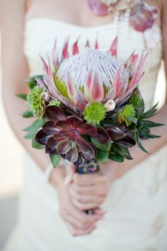 Croatia Wedding by Carmen and Ingo Photography Sparkly Bridal Flor Protea, Protea Bouquet, Protea Flower, Succulent Bouquet, Protea Art, Boquet, Protea Wedding, Floral Wedding, Bridal Bouquets