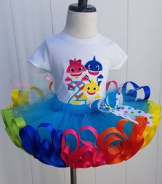 2nd Birthday Party For Girl, Baby Party, Birthday Ideas, Shark Party, Baby Shark, My Baby Girl, Birthday Shirts, Rainbow Tutu, Toddler Tutu