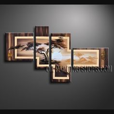 Amazing Contemporary Wall Art Hand Painted Oil Painting Gallery Stretched Tree. This 4 panels canvas wall art is hand painted by Bo Yi Art Studio, instock - $138. To see more, visit OilPaintingShops.com