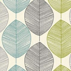 Arthouse Retro Leaf Wallpaper - Teal / Green 408207