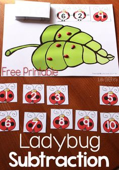 This free ladybug printable for subtracting from 10 is the perfect hands-on activity for kids who are just starting to understand what subtraction is and working on subtraction facts.