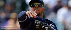 Alexi Amarista wearing S-Kore Lime Green, Kaenon Sunglasses. #BaseballSunglasses #MLB #PolarizedSunglasses