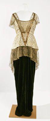 Jeanne Hallée Evening Dress ca. 1913-14 silk, metal