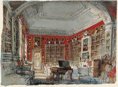 J. M. W. Turner 'Petworth: the White Library, looking down the Enfilade from the Alcove, 1827', via Flickr.