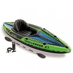 Happiness is paddling your kayak. Grab your Intex Challenger 1 Person Inflatable Kayak With Oars And Pump and head to the water. Sporty, fun, and durable, this Intex Challenger 1 Person Inflatable Kayak With Oars And Pump is ready to hit the lake. Best Fishing Kayak, Fishing Boats, Fishing Jig, Fishing Shirts, Bushcraft, Kayaks For Sale, Persona, Recreational Kayak, Shopping