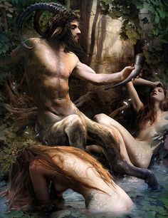 """c0ssette:  Illustration for """"Legend of cryptids byYayashin Inspired byBouguereau'spainting """"nymph and satyr"""".  ☀"""