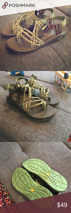 Chaco water sandals size 9 Super cute, worn a handful of times. Soles still like new. Green and brown braided. Small scuff in pics on toe, hardly noticeable when wearing. They just didn't fit my feet well, super cute wish they did Chacos Shoes Sandals