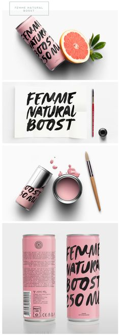 Femme Natural Boost Gorgeous packaging and container designe for these natural energy drink. Love the design and branding Font Design, Identity Design, Graphic Design Typography, Web Design, Hand Typography, Typography Tutorial, Retro Typography, Typography Alphabet, Typography Layout