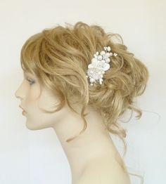 Bridal Hair Comb Vintage Hair Piece Pearl Hair Comb by BrassBoheme, $49.00