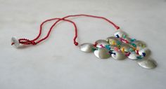 handmade silver necklace, coral &threads
