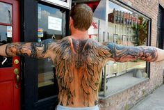 Tattoo wings on men...thoughts? (inked up sleeve and back tats) LIKE + REPIN AWAY Visit the Support tattoos + piercings at work movement >>>>> www.stapaw.com/#!tattoos-in-the-workplace/c1j6a