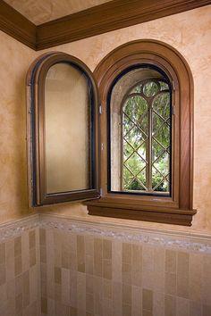 Round Top Mahogany Clad Window bathroom window!