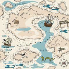 Tela infantil Mapa del tesoro de Ulalatela