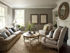 Warm, rich neutrals. Simple furnishings. Wall color is Benjamin Moore Rockport Gray.