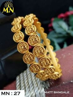 Beautiful one gram gold bangles with Ram parivar kasu. Beautiful one gram gold bangles with Ram parivar kasu. Antique Jewellery, Bridal Jewellery, Jewellery Designs, Necklace Designs, Gold Earrings, Gold Jewelry, Jewelry Rings, Gold Bangles Design, Diamond Bangle
