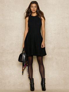 Leather-Trim Wool Dress - Blue Label Short Dresses - RalphLauren.com