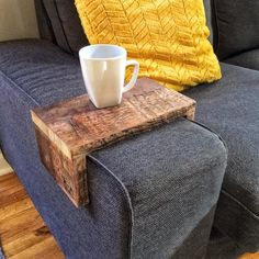 Our K+A couch armwraps are great for updating couches and giving them an accessory. I love pairing our reclaimed wood couch arm wrap with my IKEA Kivik dark grey couch! It adds an industrial loft s… Canapé Ikea Kivik, Sofa Kivik, Living Room Sofa, Living Room Decor, Ikea Bank, Dark Grey Couches, Sofa Arm Table, Custom Couches, Wooden Couch