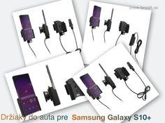 Nové držiaky do auta pre Samsung Galaxy S10+. Pasívny držiak Brodit pre pevnú montáž v aute, aktívny s CL nabíjačkou, s USB alebo s Molex konektorom. Apple Iphone, Samsung Galaxy, Usb