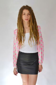 Medusa's Vintage Boutique  www.shopmedusas.com  @medusas_vintageboutique  Pink Polka-Dot Raincoat