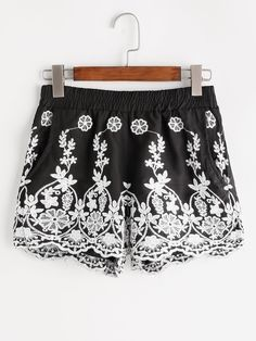 Shop Embroidered Elastic Waist Shorts online. SheIn offers Embroidered Elastic Waist Shorts & more to fit your fashionable needs.