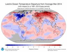 March of Global Warming: Month 4th Warmest on Record - Though cool temperatures prevailed across the eastern U.S. and Canada through March, the month was the fourth warmest March on record globally, the National Oceanic and Atmospheric Administration announced Tuesday. It was the 38th March in a row with warmer-than-average temperatures.