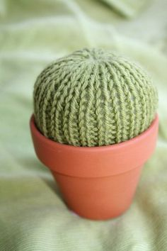 Easy knitting patterns don't have to be boring!  Make this adorable Pincushion Cactus using some leftover green yarn, an old clay pot and some stuffing.  Get practice using double pointed needles and the rib stitch, in this mindless design that's as