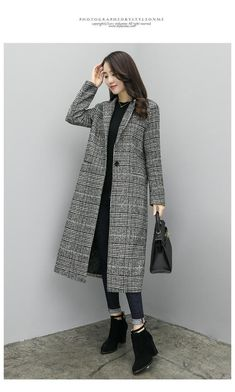 396cdce090d8f Women Wool Coat Plaid Women Loose Long Single Breasted Woolen Coats Winter