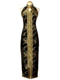 Black Mandarin Collar Sleeveless Tea-length Silk Brocade Cheongsam (EC036)  Oriental Dress 60c1e0b31