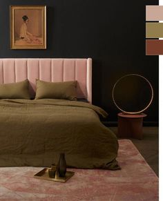 fall 2018 color palette trends: blush pink, olive and rust Olive Green Bedrooms, Olive Bedroom, Blush Bedroom, Pink Bedrooms, Bedroom Green, Bedroom Decor, Plum Room, Burgundy Rugs, Deco Rose