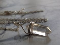 Crystal Quartz Point Crystal Pendant Necklace, Double Pointed, Herkimer Diamond Crystal Accent, Sterling Silver, Modern, Minimalist by kalypsocreations on Etsy