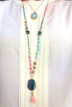 Druzy Agate Soft Pink Tassel Beaded necklace, boho statement necklace, layering…