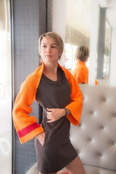Orange Convertible Scarf Shrug with Red Stripe  by yarnNclay, $40.00