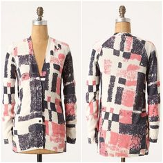 """Anthropologie Experimental Graphics Cardigan A graphic """"no-print"""" print is pressed upon this shag-yard sweater from Field Flower by Wendi Reed.  -Button front -Cotton, nylon -Length 26""""  NO Trades. Please make all offers through offer button. Anthropologie Sweaters Cardigans"""